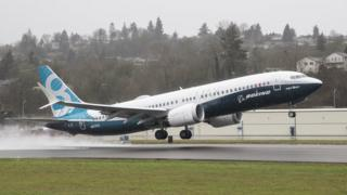A Boeing 737 MAX 8 airliner lifts off for its first flight in January 2016
