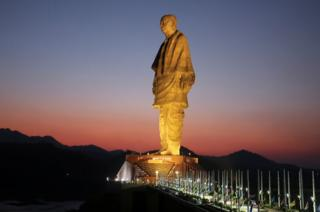 "The ""Statue of Unity"" portraying Sardar Vallabhbhai Patel, one of the founding fathers of India, during its inauguration in Kevadia, in the western state of Gujarat, India, 31 October 2018."