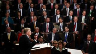 US President Donald Trump addresses a joint session of the U.S. Congress on 28 February 2017 in the House chamber of the U.S. Capitol in Washington, DC.