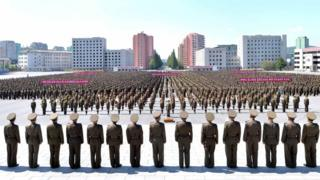 Plenty army people line up as dem gather for main square for capital Pyongyang
