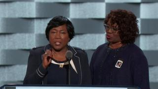 Felicia Sanders & Polly Sheppard (L) each spoke at the 2016 Democratic convention