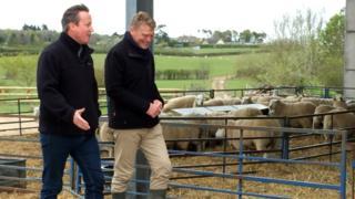 David Cameron with BBC Countryfile presenter Tom Heap