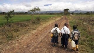 Tanzanian pupils going to school