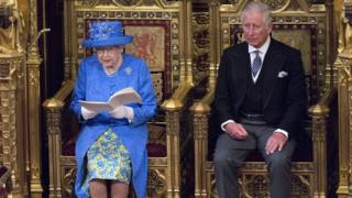 Queen Elizabeth and Prince Charles as the Queen delivers her speech in Parliament