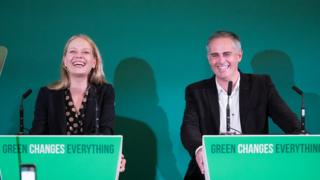 Green party co-leaders Sian Berry and Jonathan Berry in Bristol on October 5, 2018