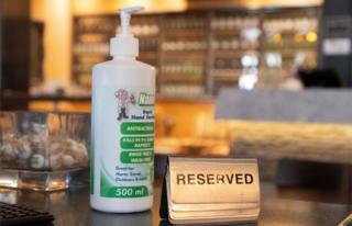 A bottle of hand sanitiser is seen at a restaurant in Wellington on 14 May, 2020.