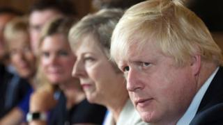 Boris Johnson and Theresa May at Chequers