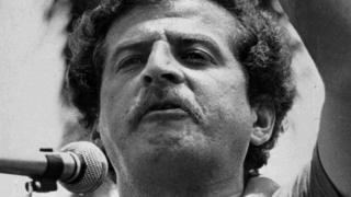 Former journalist and presidential candidate Luis Carlos Galan speaks at a political rally in Colombia in 1982.