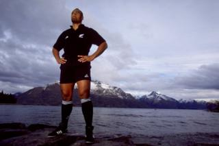 Lomu, posing for a photo outside in Queenstown, New Zealand