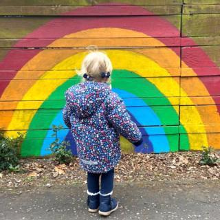 Girl looking at rainbow