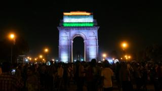 The landmark India Gate monument before the lights were switched off during the Earth Hour campaign in New Delhi.
