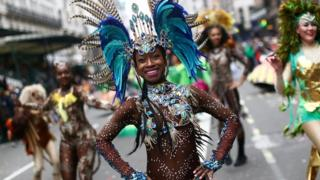 Carnival performers at the New Year Parade