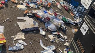 Litter strewn around Great Yarmouth beach