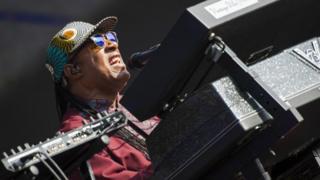 Stevie Wonder plays in London's Hyde Park