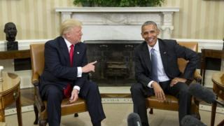 Rais mteule wa Marekani Donald Trump na rais wa sasa Barrack Obama katika ikulu ya White House