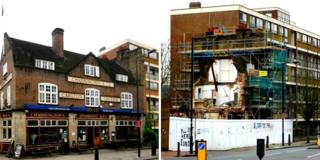 The Carlton Vale Tavern before (l) and after (r)