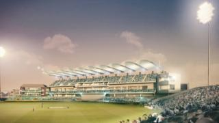 The proposed new cricket stand at night
