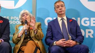 Brexit Party MEP for South West England, Ann Widdecombe (C), sits and speaks alongside Brexit Party leader Nigel Farage,
