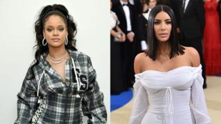 US celebrities Rihanna and Kim Kardashian