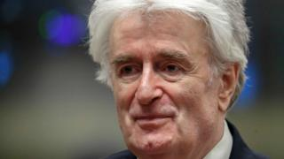 Radovan Karadzic at his appeal hearing, 23 April 2018