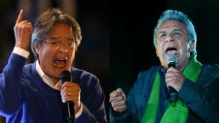 Los candidatos a la presidencia de Ecuador Guillermo Lasso y Lenín Moreno.