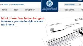 وبسایت اداره مهاجرت آمریکا