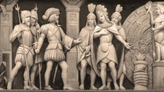 Cortés and Montezuma at a Mexican temple (detail from the frieze in the Rotunda of the United States Capitol)