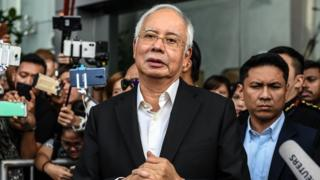 "Malaysia""s former prime minister Najib Razak speaks to the media after being questioned at the Malaysian Anti-Corruption Commission (MACC)"