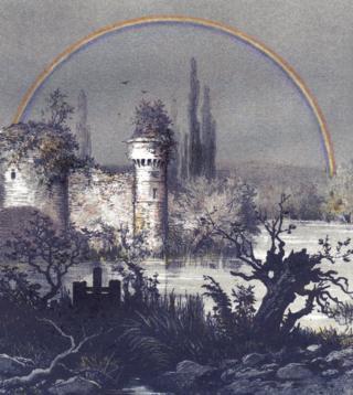 """Un arcoíris lunar sobre un castillo en Compiègne, Francia, pintado por Camille Flammarion y publicado en """"La Atmósfera"""" en 1873."""
