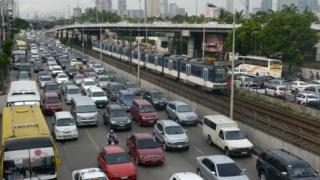 A traffic jam in Manila