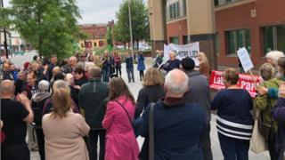 The scene outside the court in Sheffield