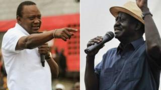 Rais Uhuru Kenyatta na Kiongozi wa upinzani Raila Odinga
