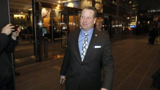 Former Trump campaign aide Sam Nunberg leaves CNN headquarters after being interviewed on the Erin Burnett OutFront television show in New York on 5 March 2018