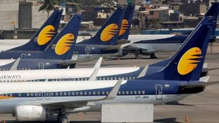 Jet Airways aircraft are seen parked at the Chhatrapati Shivaji Maharaj International Airport in Mumbai