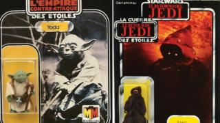 Star Wars The Empire Strikes Back Yoda vintage figure and Star Wars The Return of the Jedi Tri-logo Jawa vintage figure