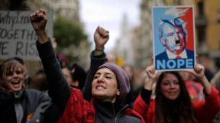 Protesta de Womens March en Barcelona