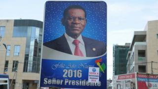 Electoral poster of Equatorial Guinea incumbent president and candidate Teodoro Obiang in Malabo