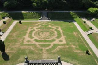 Victorian garden outline at Gawthorpe Hall