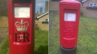 One of the postboxes painted by Mr Powell which was then repainted by the Royal Mail