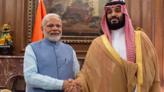 नरेंद्र मोदी और सऊदी अरब के क्राउन प्रिंस