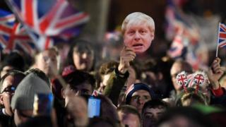 Brexit supporters wave Union flags in Westminster