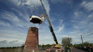 Cap lifted on top of Horsey Windpump