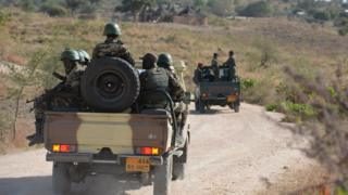 Cameroonian soldiers patrolling in army vehicles, Cameroon in February 2015