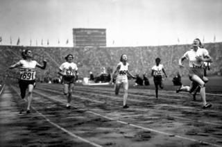 Fanny Blankers-Koen wins the 100m