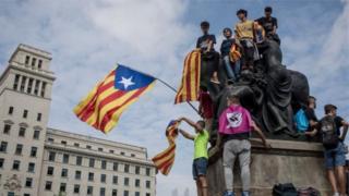 طرفداران استقلال کاتالونیا در بارسلون