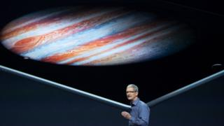 Tim Cook in front of a display showing the iPad Pro at 9 September launch