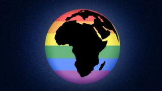 Africa map with rainbow colours