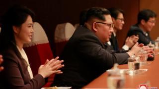 کیم جونگ اون رهبر کره شمالی و همسرش