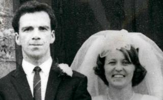 Britain's first heart donor Patrick Ryan seen with his wife Mitzi on their wedding day