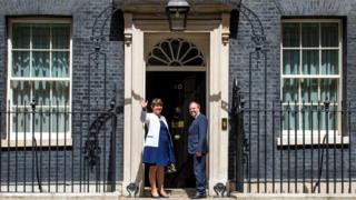 DUP leader Arlene Foster and DUP deputy leader Nigel Dodds arriving at 10 Downing Street in London for talks